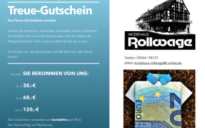 Modehaus Rollwage bietet Treue-Gutschein
